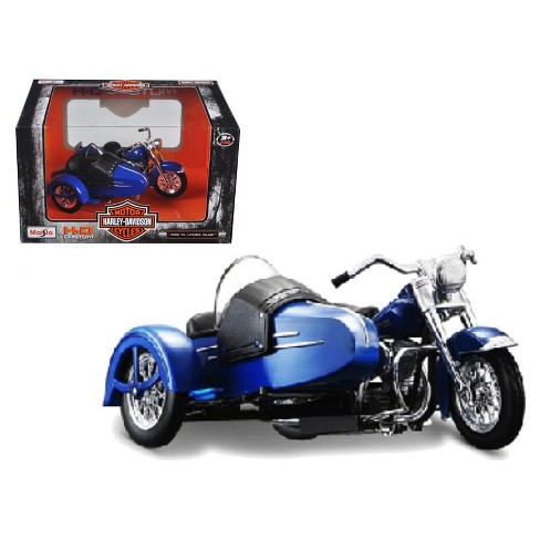 1952 Harley Davidson FL Hydra Glide with Side Car Blue 1/18 Diecast Motorcycle Model by Maisto - image 1 of 1