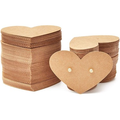 300 Pieces Heart Shaped Earring Display Cards Earring Card Holders Blank Kraft Paper Tags for DIY Ear Studs and Earrings
