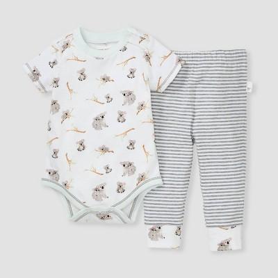 Burt's Bees Baby® Baby Boys' Organic Cotton Koala Bodysuit & Pants Set - Gray/White Newborn