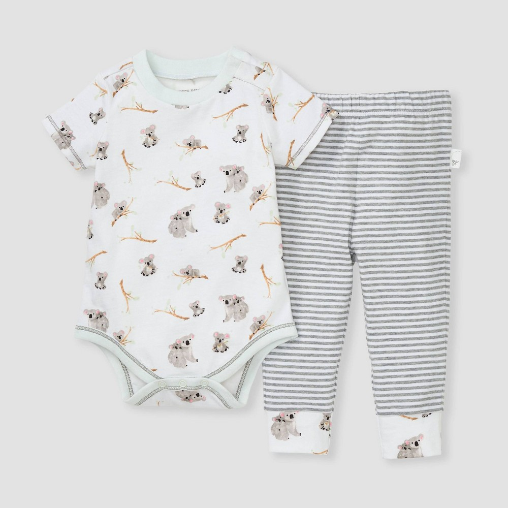 Burt 39 S Bees Baby 174 Baby Boys 39 Organic Cotton Koala Bodysuit 38 Pants Set Gray White 18m