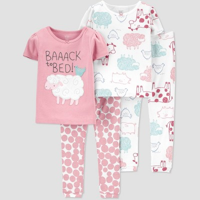 Baby Girls' 4pc Sheep Pajama Set - Just One You® made by carter's 9M