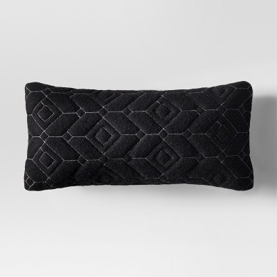 Quilted Lumbar Throw Pillow - Black - Project 62™