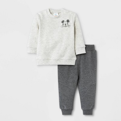 Baby Boys' 2pc Mickey Mouse Fleece Pullover and Jogger Set - Heather Cream