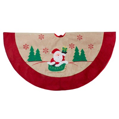 "Northlight 36"" Burlap Santa Claus in Sleigh Embroidered Christmas Tree Skirt"