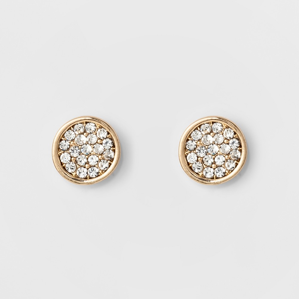 Women's Round button earring with Crystal - A New Day Gold
