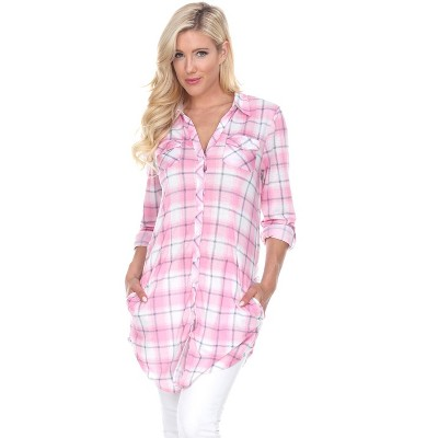 Women's Piper Stretchy Plaid Tunic with Pockets - White Mark