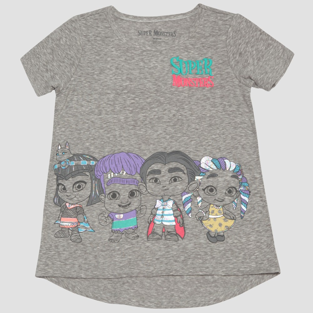 Image of petiteNetflix Toddler Girls' Short Sleeve High Low T-Shirt - Gray 12M, Girl's