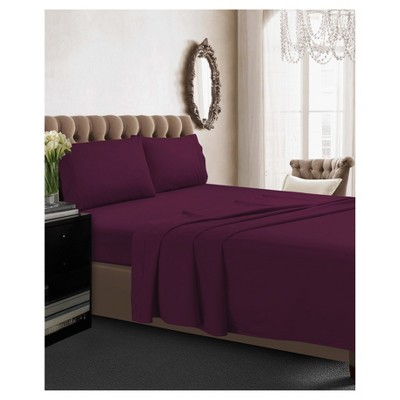 Cotton Percale Deep Pocket Solid Sheet Set (Queen)Purple 350 Thread Count - Tribeca Living®