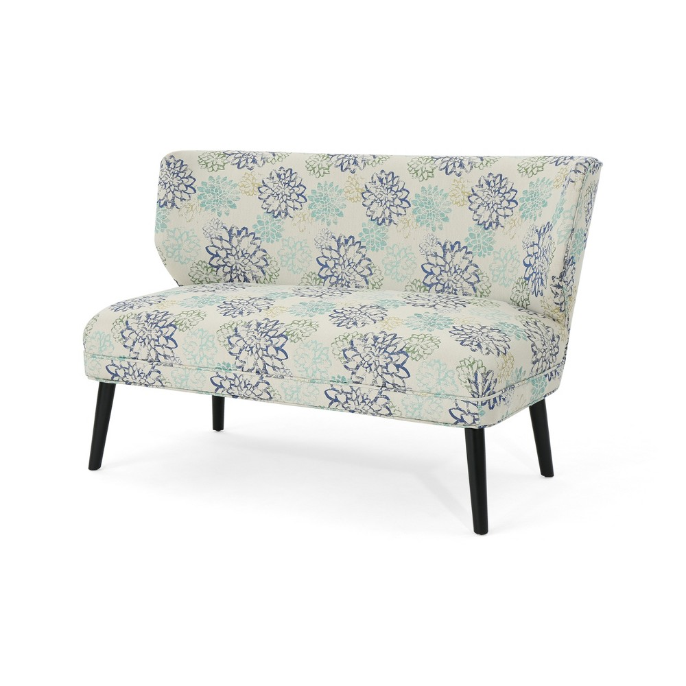Desdemona Modern Farmhouse Settee Blue Floral - Christopher Knight Home
