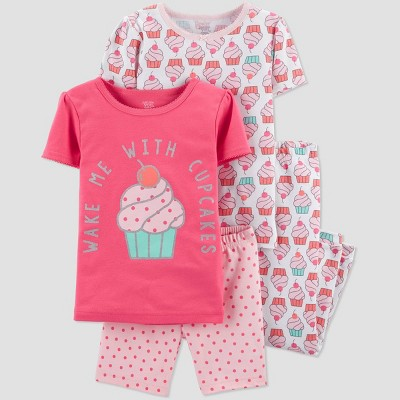 Baby Girls' 4pc Pink Cupcake Pajama Set - Just One You® made by carter's Pink 12M