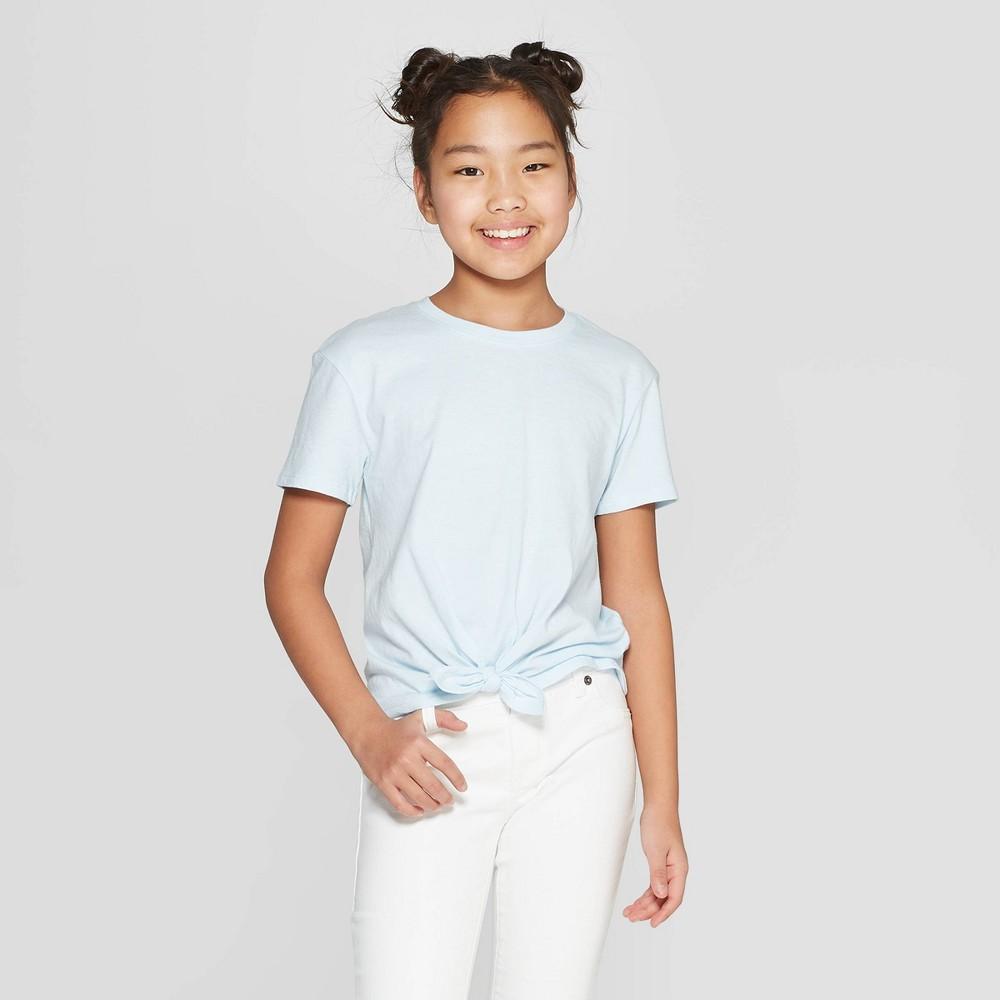 Girls' Short Sleeve Tie Front T-Shirt - art class Light Blue L