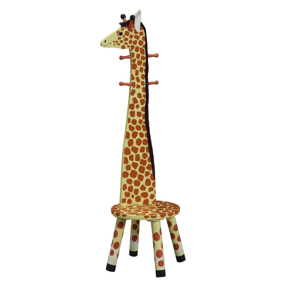 Image of Fantasy Fields Safari Stool with Coat Rack Wood/Giraffe - Teamson