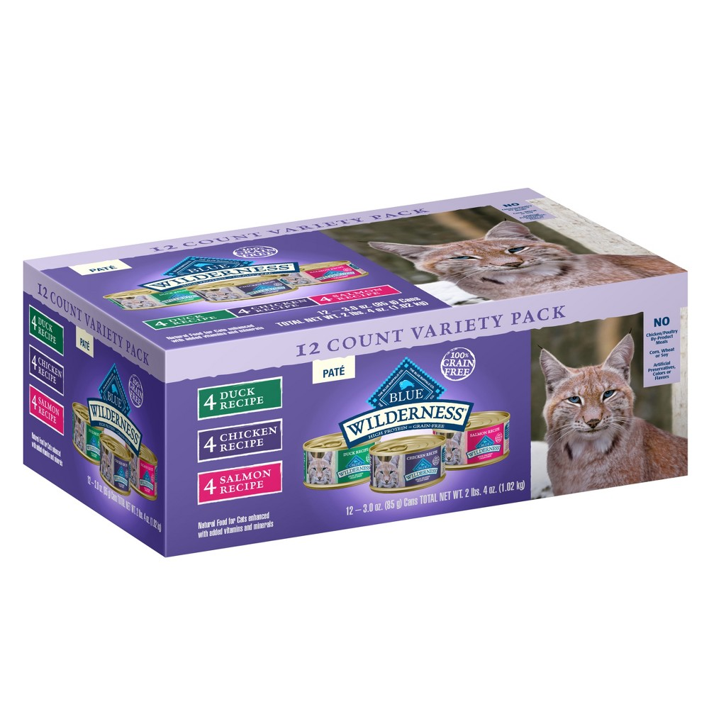 Blue Buffalo Wilderness 100% Grain-Free Duck/Chicken/Salmon Pate Adult Wet Cat Food - 3oz 12ct Variety Pack