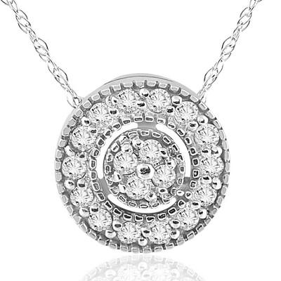 "Pompeii3 1/4ct Diamond Pave Halo Pendant 14K White Gold Womens Necklace & 18"" Chain"