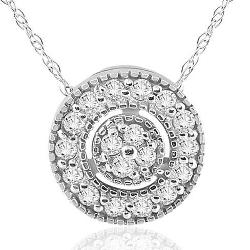 "Pompeii3 1/4ct Diamond Pave Halo Pendant 14K White Gold Womens Necklace & 18"" Chain - image 1 of 4"