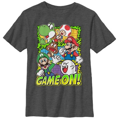 Boy's Nintendo Super Mario Group Game On T-Shirt