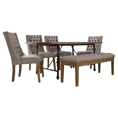 6 Piece Merida Rustic Industrial Dining Set Wood/Gray Linen   Inspire Q