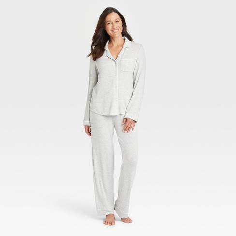 Women's Perfectly Cozy Long Sleeve Top and Pants Pajama Set - Stars Above™ Light Gray - image 1 of 3