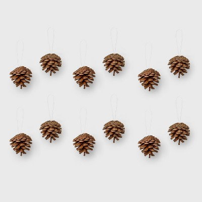 12ct Pine Cones Christmas Ornament Set Brown   Wondershop™ by Shop This Collection