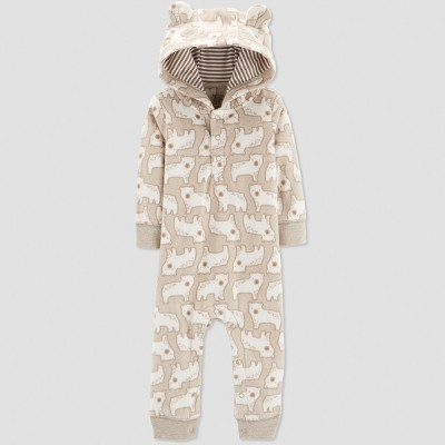 Baby Boys' 1pc Bear Jumpsuit - Just One You® made by carter's Oatmeal Newborn
