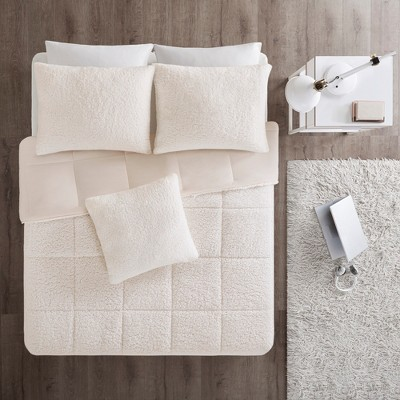 3pc King Braden Reversible Flannel Comforter Mini Set Ivory