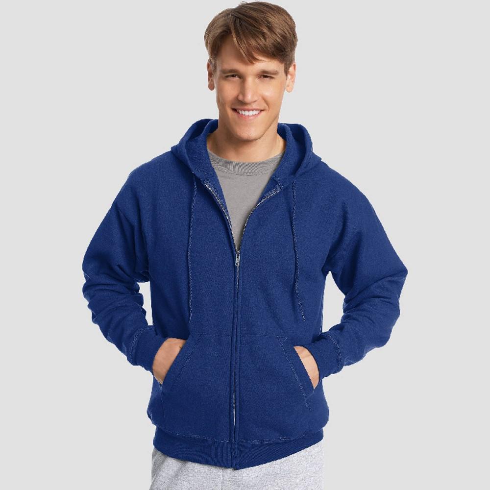Hanes Men's EcoSmart Fleece Full Zip Hooded Sweatshirt - Royal XL