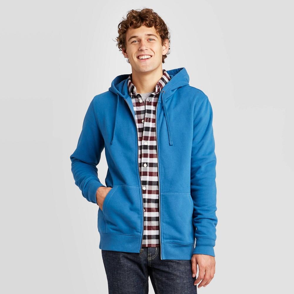 Men 39 S Regular Fit Full Zip Fleece Pullover Hoodie Goodfellow 38 Co 8482 Blue M