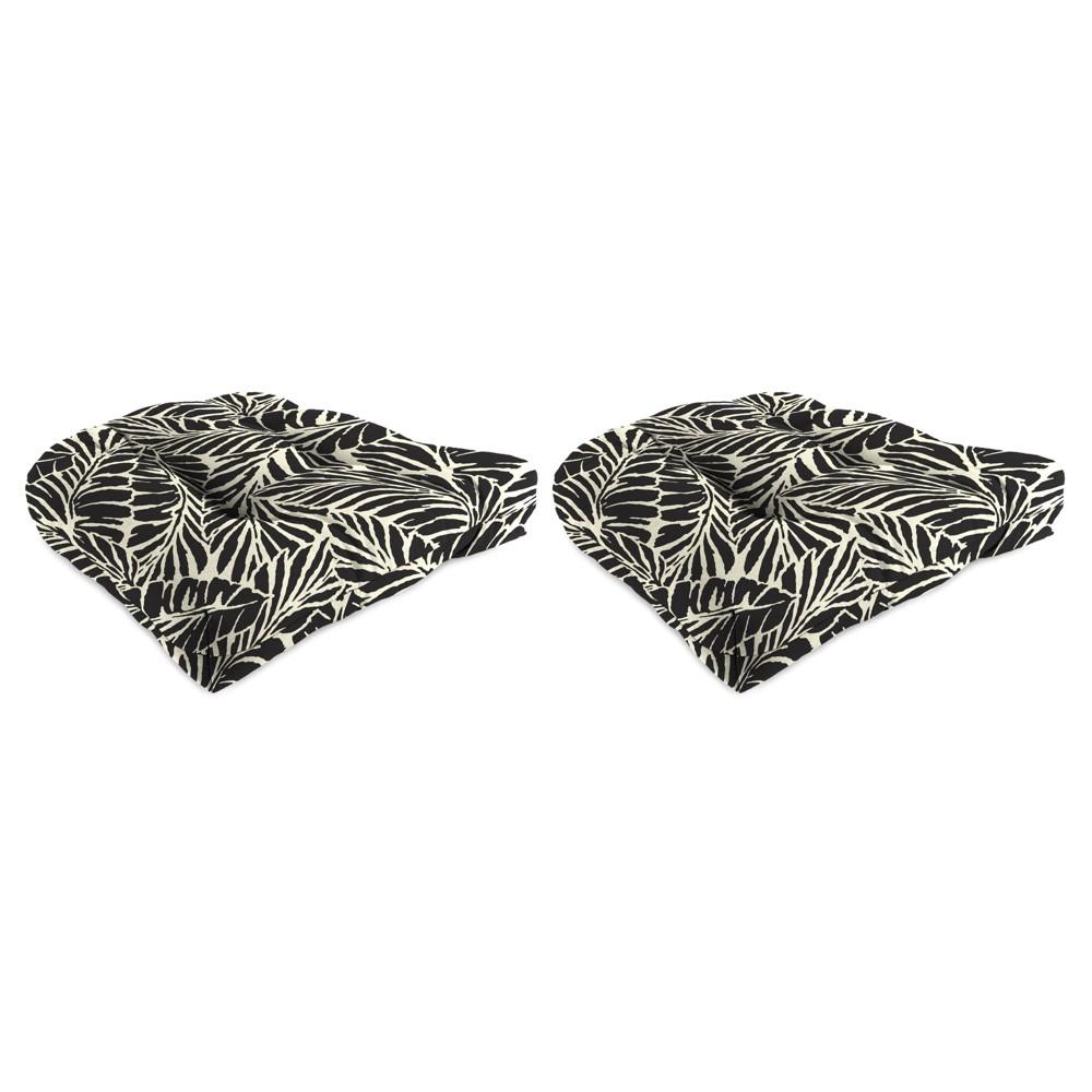 Outdoor Set Of 2 Wicker Chair Cushions In Malkus Black - Jordan Manufacturing, Almond Oil