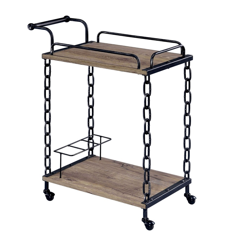 Sun & Pine Mallony Industrial Serving Cart Metal/Black & Brushed Silver, Galaxy Black