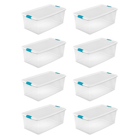 Sterilite 106 Quart Clear Plastic Latching Lid Storage Tote Container, 8 Pack - image 1 of 4