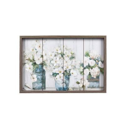 """23.5"""" x 15.5"""" Flower Jars MDF Wall Art White - Prinz"""