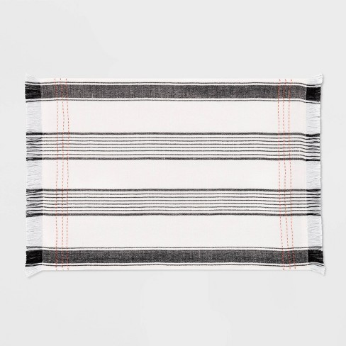 Placemat Woven Striped Black / Orange - Hearth & Hand™ with Magnolia - image 1 of 3