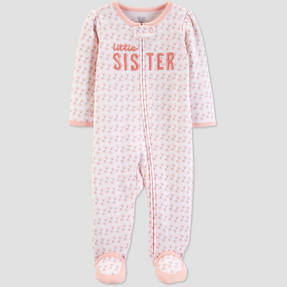 Baby Girls' Little Sister Elephant Sleep 'N Play - Just One You made by carter's Coral 3M, Pink