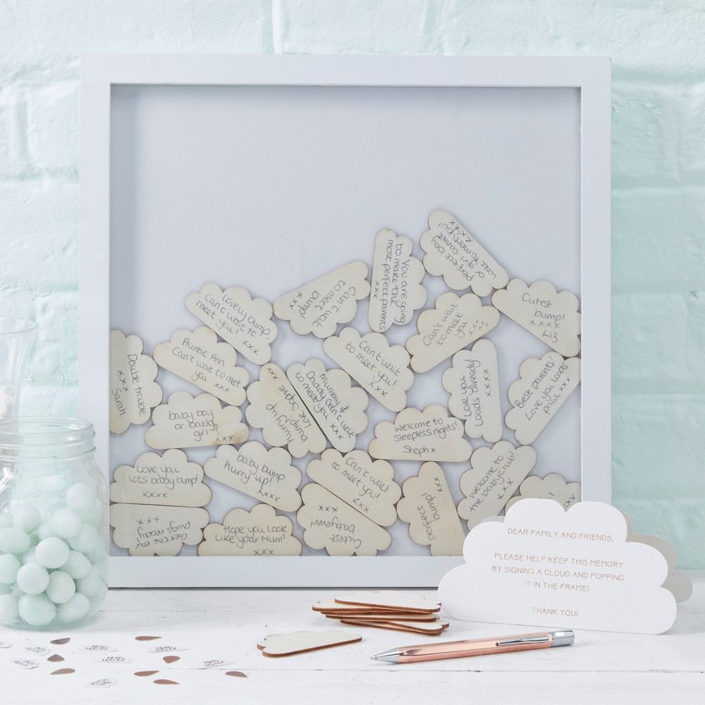 Image of Cloud Pattern Backdrop Top Frame Guest Book