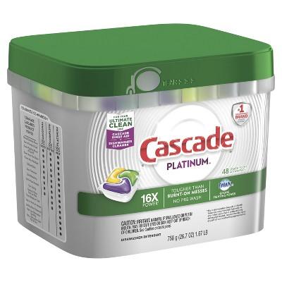 Cascade Platinum Actionpacs Dishwasher Detergent Lemon - 48ct