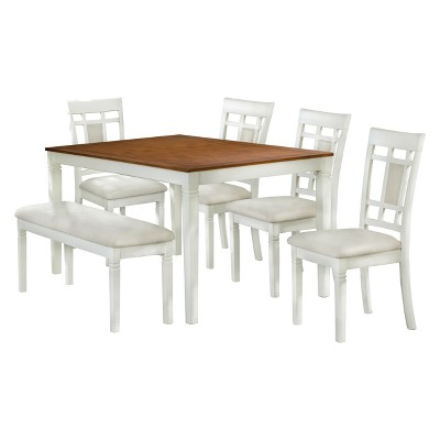 6pc Dining Set Brown/White   Home Source Industries