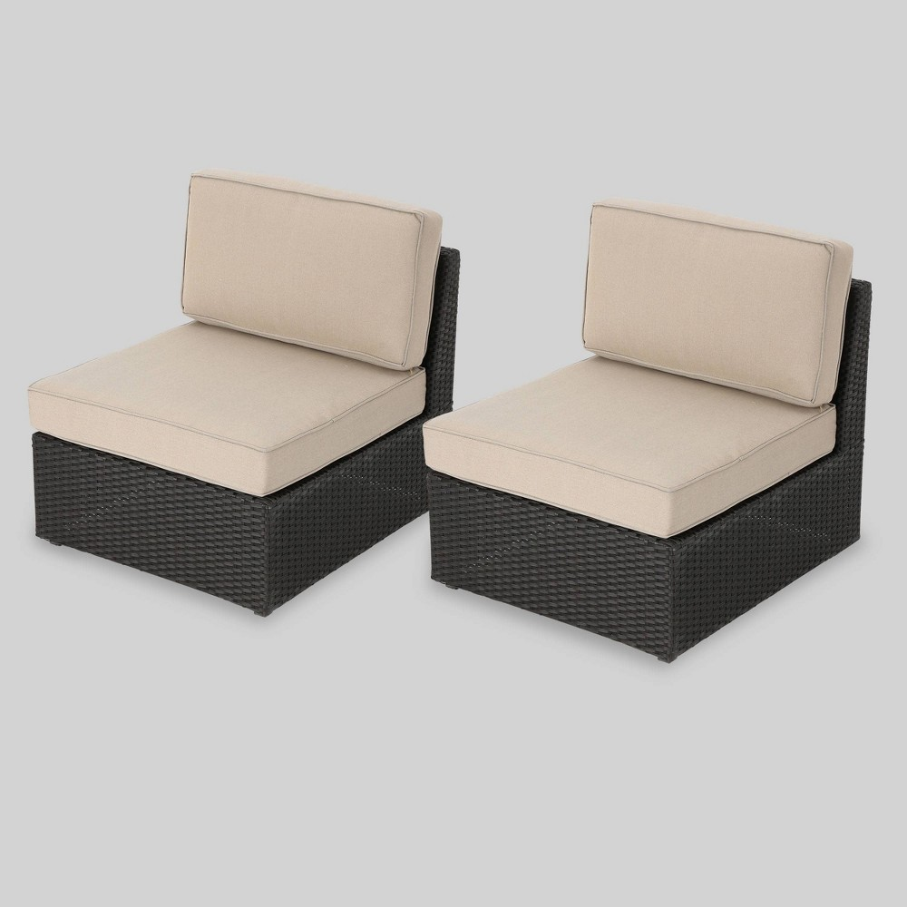 Santa Cruz 2pc Wicker Sectional Sofa Set - Brown/Beige - Christopher Knight Home
