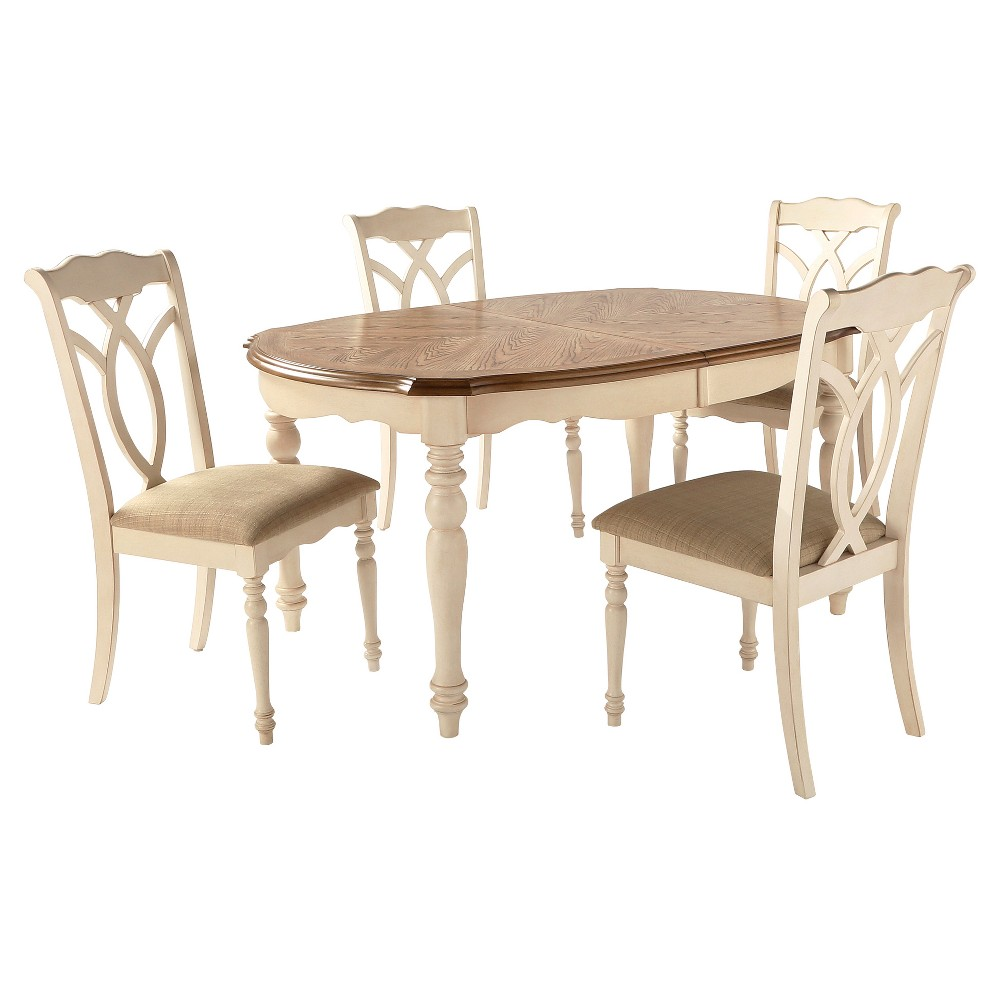5 Piece Wakefield Extendable Dining Set Wood/Off White - Inspire Q