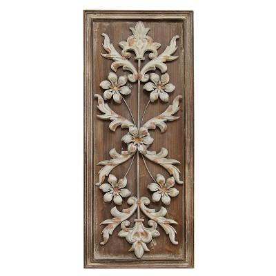 Stratton Home Decor 28 x12  Vintage Panel Decorative Wall Art Set Antique Wood