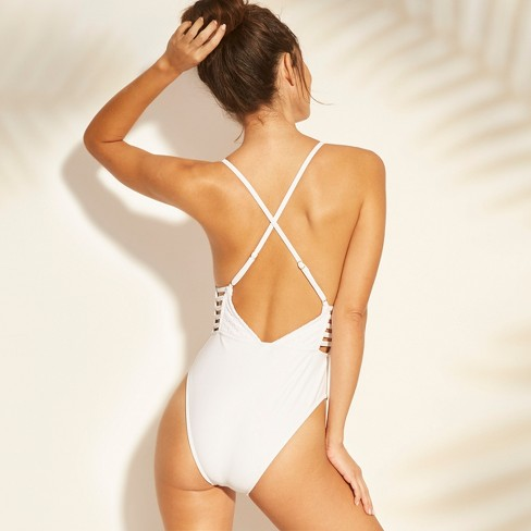9b74e4bd6710 Women's Crochet Strappy Plunge One Piece Swimsuit - Xhilaration™ : Target