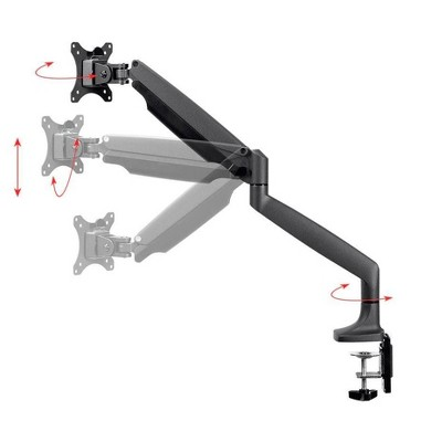Monoprice Smooth Full Motion Single Monitor Adjustable Gas Spring Desk Mount - Black, Supports Up to 34 inch Monitors, 19.8 LBS Display Weight