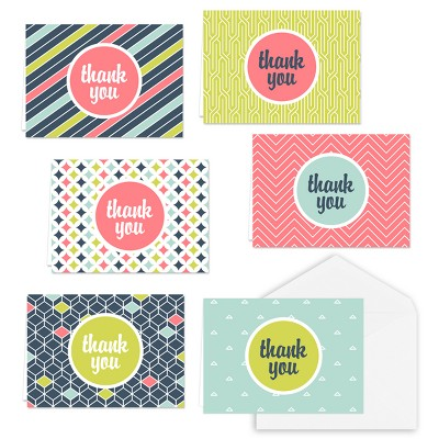36ct Geometric Shapes Thank you Cards