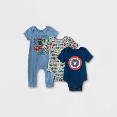 Baby Boys' 3pk Marvel Superheroes Short Sleeve Bodysuit - Blue 12M