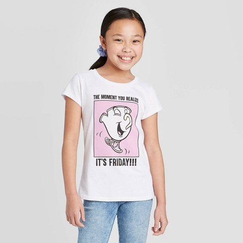 Girls' Short Sleeve Disney Princess It's Friday T-Shirt - White - image 1 of 3