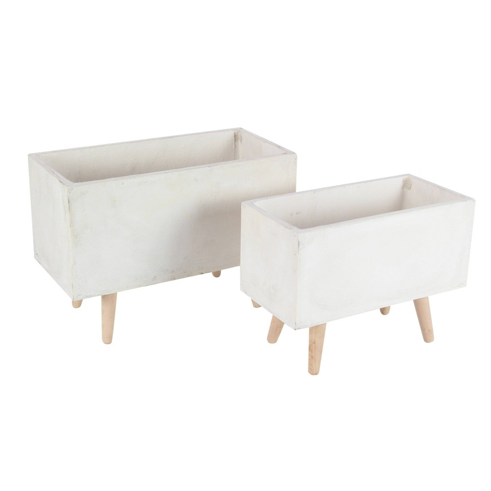 Set Of 2 Rectangular Planters With Wooden Legs Olivia 38 May