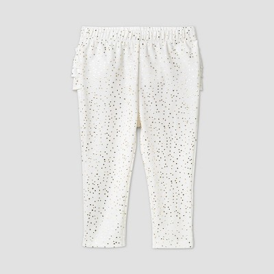 Baby Girls' Foil Ruffle Bum Pull-On Pants - Cat & Jack™ Cream 6-9M