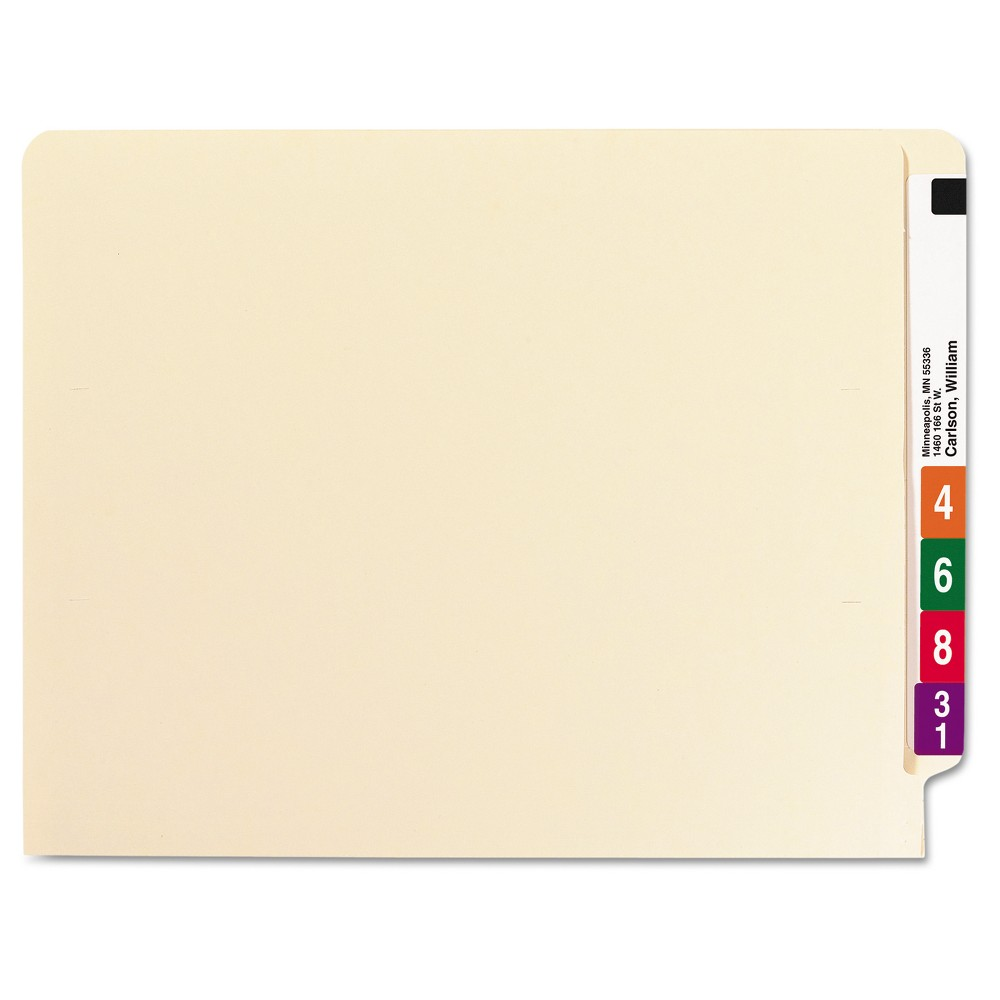 Smead Manila End Tab Classification Folders, Letter, Six-Section, 10/Box, Off White