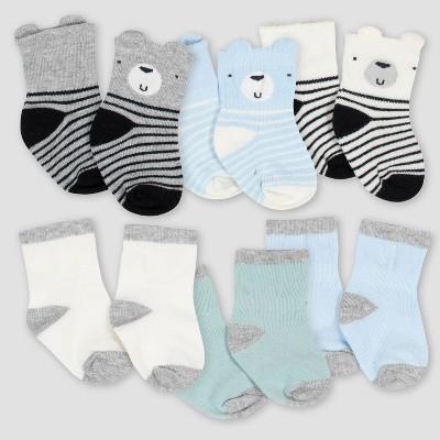 Gerber Baby Boys' 6pk Bear Jersey Crew Socks - 0-3M