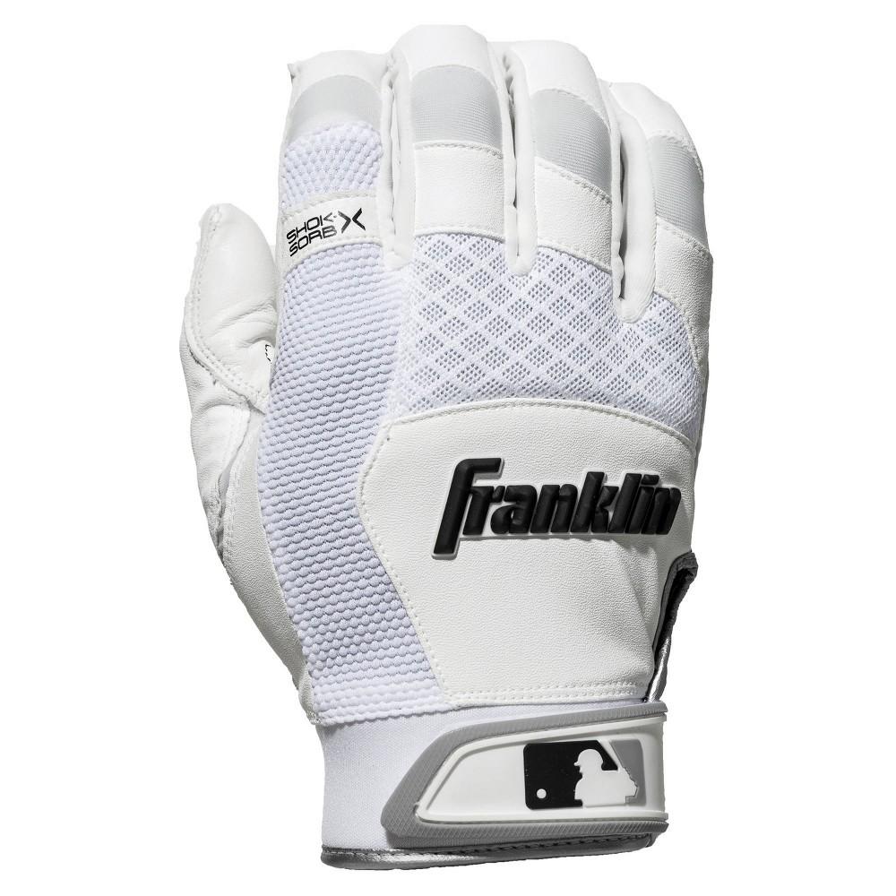Franklin Sports Shok Sorb X Batting Gloves White White Adult Large