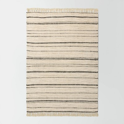 5' x 7' Bleached Jute Variegated Stripe Area Rug Railroad Gray - Hearth & Hand™ with Magnolia
